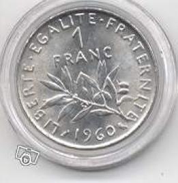 Rare Piece De 1 Franc Semeuse 1960 Collection