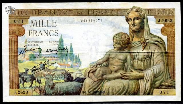 Billet Banque 1000 Francs 1943 Collection