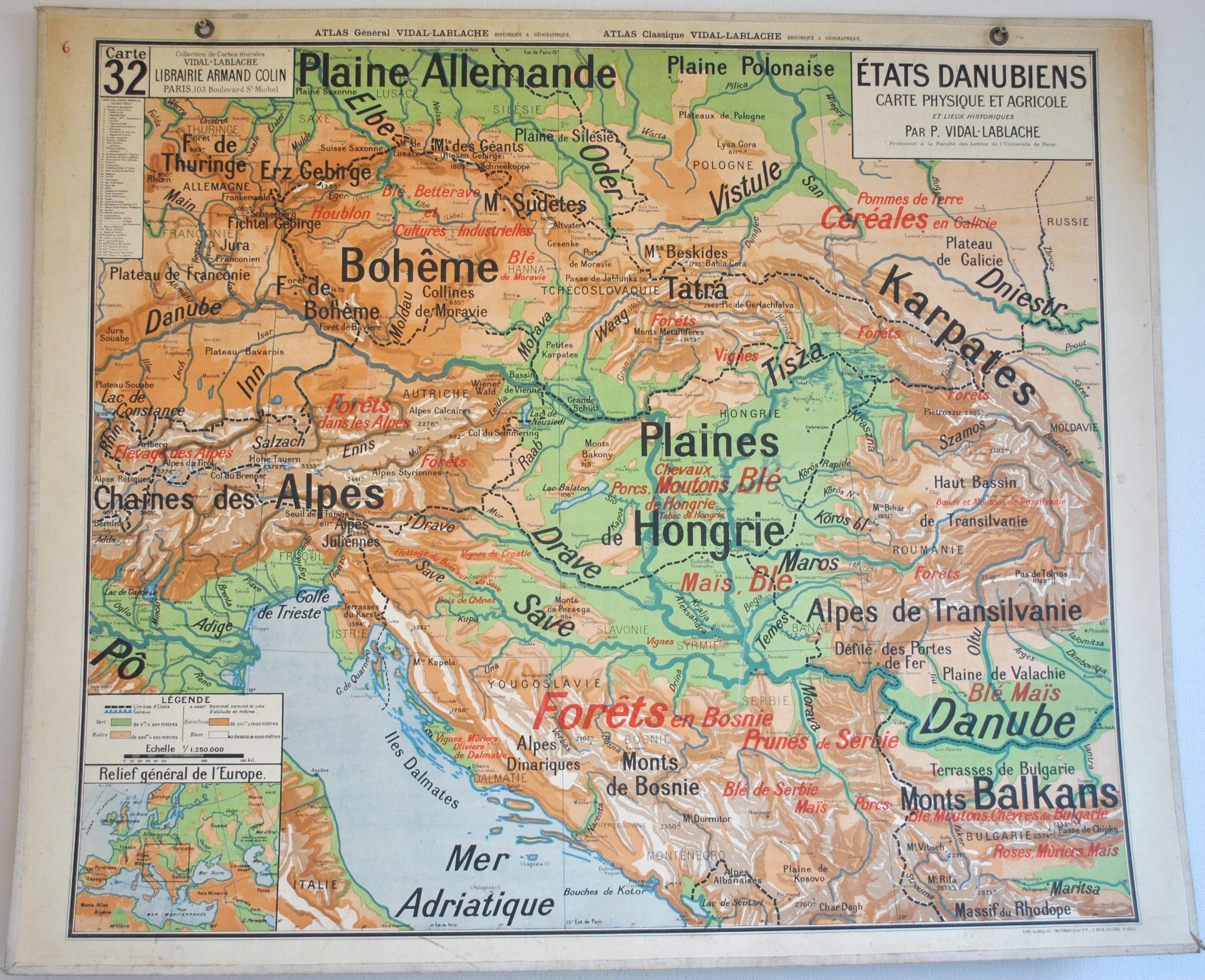 Ancienne Carte d'école Vidal Lablache N°32 32bis Etats Danubiens