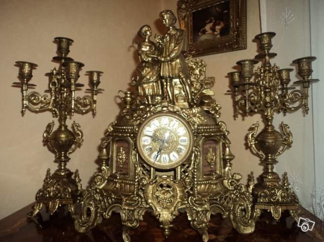 Très Ancienne horloge et chandeliers 1910 collection JG19
