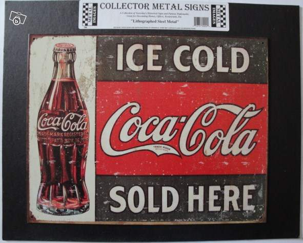 ancienne plaque publicitaire coca cola usa collection. Black Bedroom Furniture Sets. Home Design Ideas