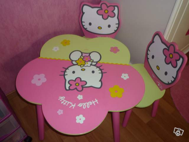 table et chaise hello kitty collection. Black Bedroom Furniture Sets. Home Design Ideas