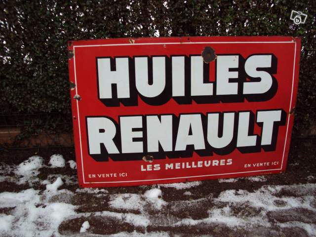 ancienne plaque publicitaire huiles renault collection. Black Bedroom Furniture Sets. Home Design Ideas